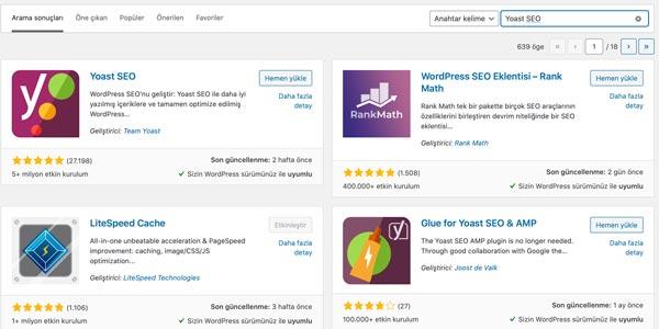 Yoast SEO eklentisi yükleme ekranı. en iyi WordPress seo eklentisi