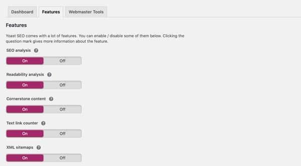 Yoast SEO eklentisi, Genel Ayarlar, Features sekmesi. en iyi WordPress seo eklentisi