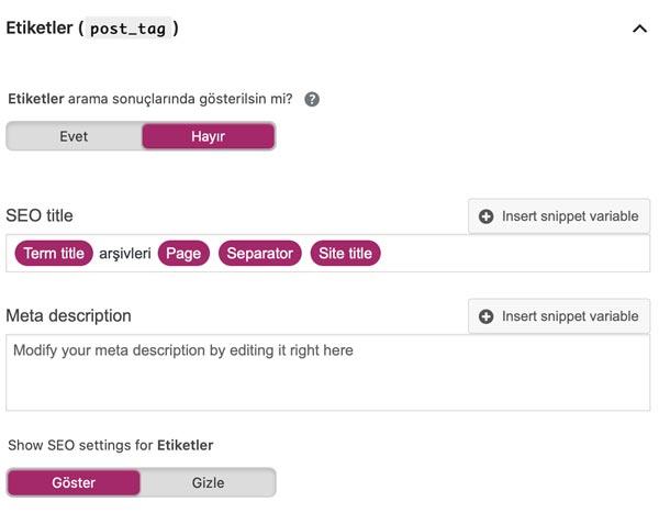 Etiketler meta ayarları. en iyi WordPress seo eklentisi