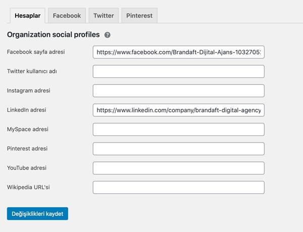 Yoast SEO, sosyal medya entegrasyon paneli. en iyi WordPress seo eklentisi
