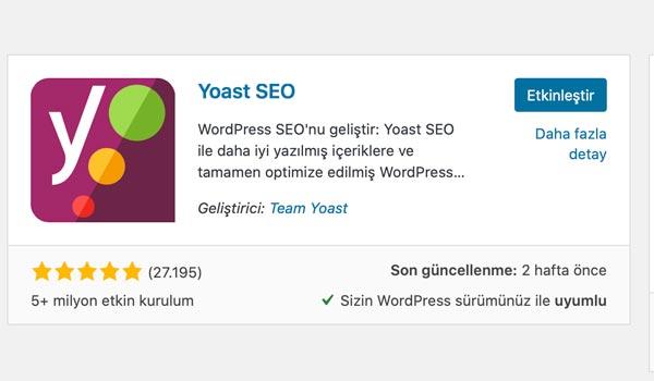 Yoast SEO eklentisi etkinleştirme. en iyi WordPress seo eklentisi
