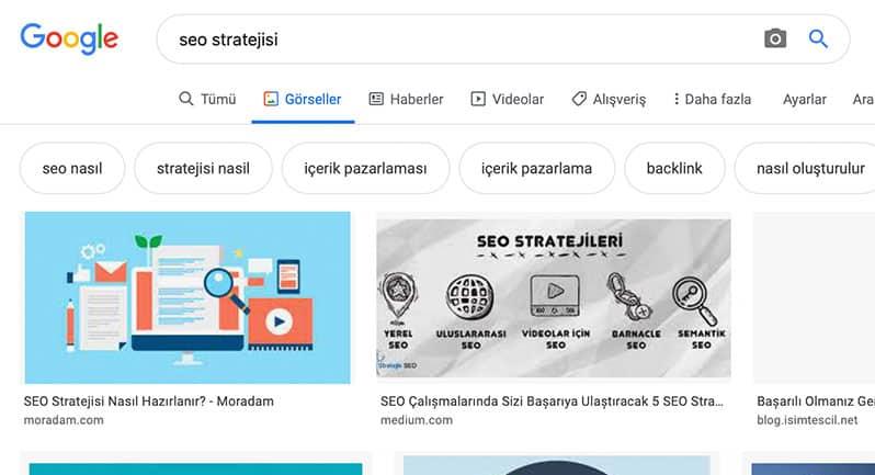 Google görselleri kullanarak semantik kelime bulma, seo stratejisi